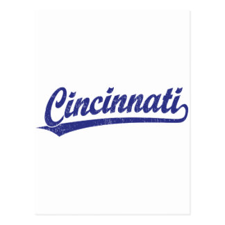 Cincinnati script logo in blue post cards