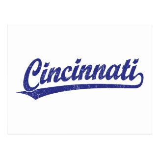 Cincinnati script logo in blue post card