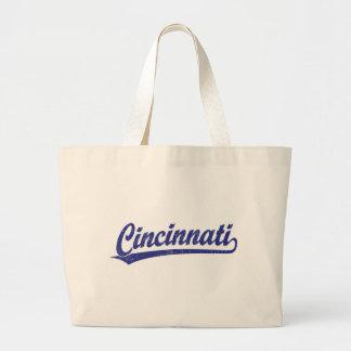 Cincinnati script logo in blue jumbo tote bag