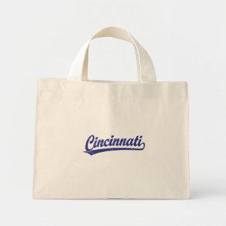 Cincinnati script logo in blue mini tote bag