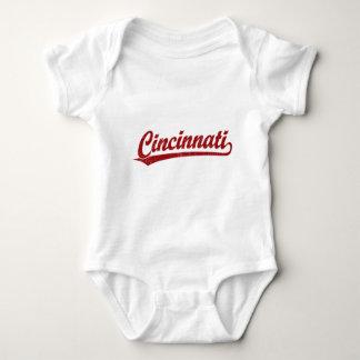 Cincinnati script logo in red baby bodysuit