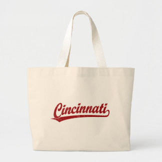 Cincinnati script logo in red jumbo tote bag