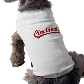 Cincinnati script logo in red shirt