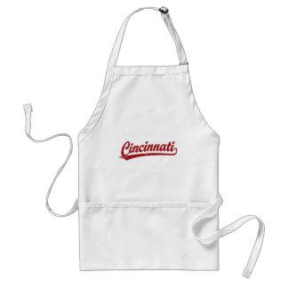 Cincinnati script logo in red standard apron