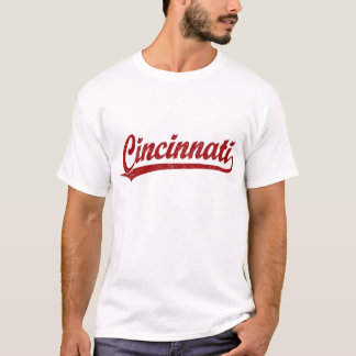 Cincinnati script logo in red T-Shirt