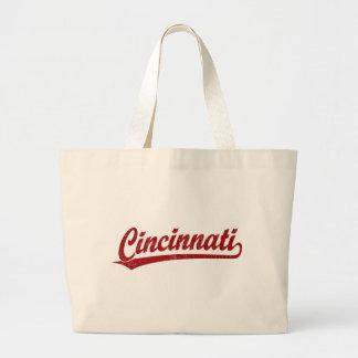 Cincinnati script logo in red jumbo tote bag