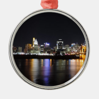 Cincinnati skyline at night christmas ornament
