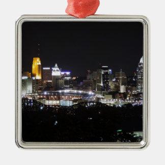 Cincinnati skyline at night christmas ornament