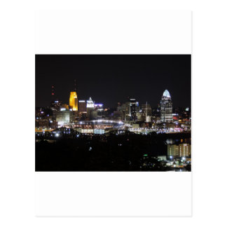 Cincinnati skyline at night postcards