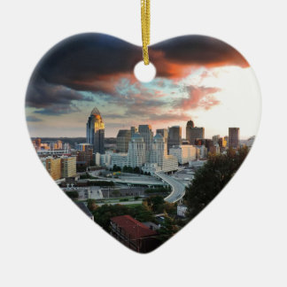 Cincinnati skyline at sunset christmas ornament