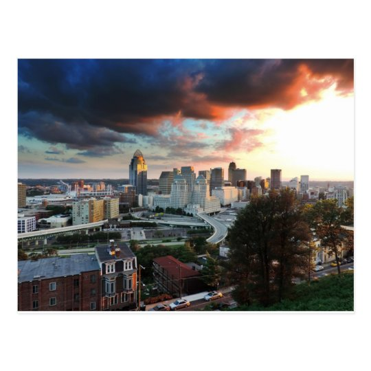 Cincinnati skyline at sunset postcard
