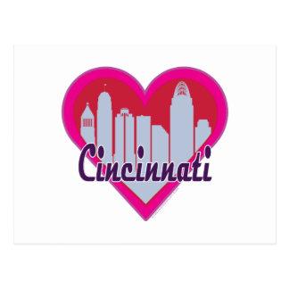Cincinnati Skyline Heart Postcards