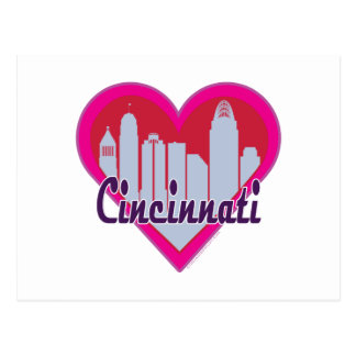Cincinnati Skyline Heart Postcard
