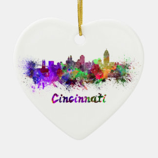 Cincinnati skyline in watercolor ceramic heart decoration