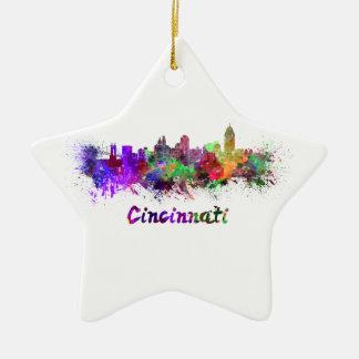 Cincinnati skyline in watercolor christmas ornament