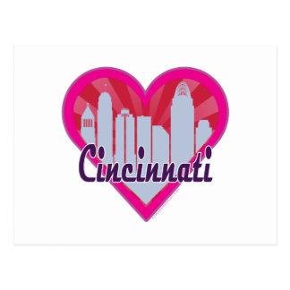 Cincinnati Skyline Sunburst Heart Postcard