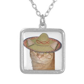 Cinco de Gato Square Pendant Necklace