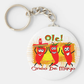 Cinco de Mayo 3 Dancing Chilli Peppers-Adorable Key Ring