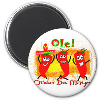 Cinco de Mayo 3 Dancing Chilli Peppers-Adorable Magnet