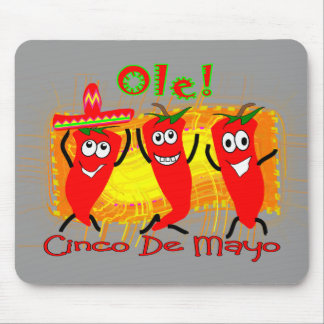 Cinco de Mayo 3 Dancing Chilli Peppers-Adorable Mouse Pads