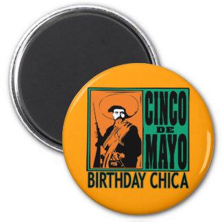 Cinco de Mayo Birthday Chica 6 Cm Round Magnet