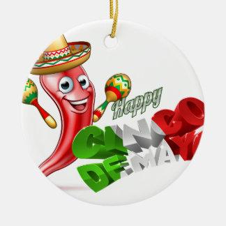 Cinco De Mayo Chilli Pepper Design Round Ceramic Decoration