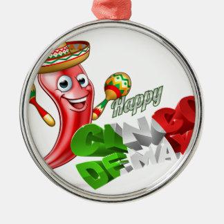 Cinco De Mayo Chilli Pepper Design Silver-Colored Round Decoration