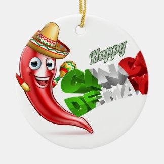 Cinco De Mayo Chilli Pepper Poster Design Round Ceramic Decoration