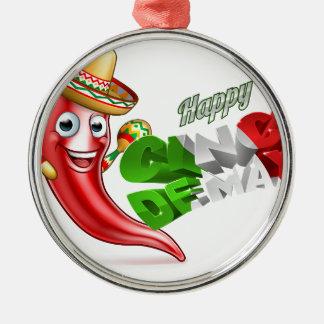 Cinco De Mayo Chilli Pepper Poster Design Silver-Colored Round Decoration