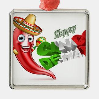 Cinco De Mayo Chilli Pepper Poster Design Silver-Colored Square Decoration
