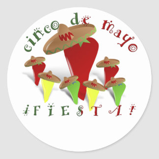 Cinco De Mayo Dancing Peppers Classic Round Sticker