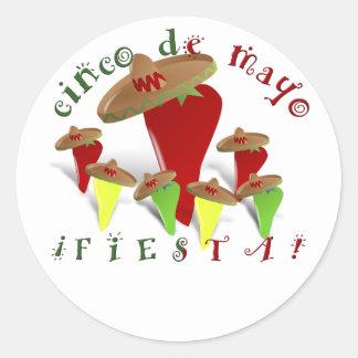 Cinco De Mayo Dancing Peppers Round Sticker