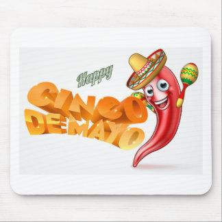 Cinco De Mayo Mexican Chilli Pepper Design Mouse Pad