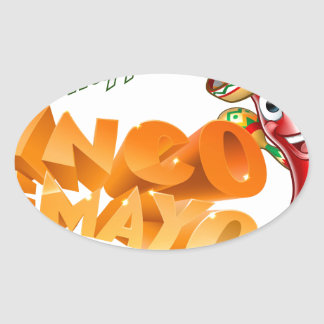 Cinco De Mayo Mexican Chilli Pepper Design Oval Sticker