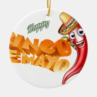 Cinco De Mayo Mexican Chilli Pepper Design Round Ceramic Decoration