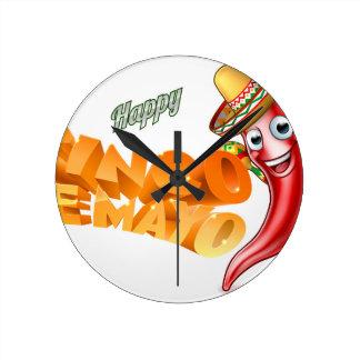 Cinco De Mayo Mexican Chilli Pepper Design Round Clock