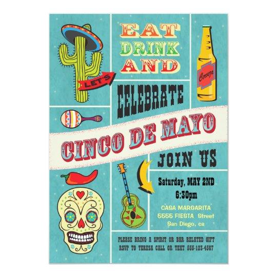 Cinco de Mayo Mexican Fiesta Party Invitations
