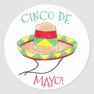 Cinco de Mayo Mexican Fiesta Sombrero Hat Party Classic Round Sticker