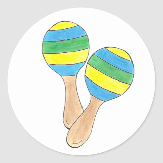 Cinco de Mayo Mexican Maracas Musical Instrument Classic Round Sticker