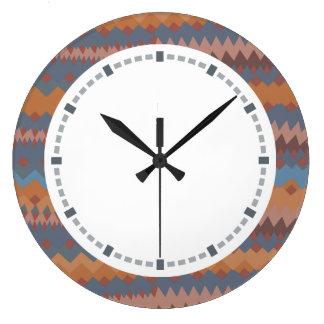 Cinco de Mayo Mexican ZigZag Southwestern Colors Large Clock