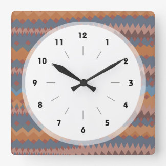 Cinco de Mayo Mexican ZigZag Southwestern Colors Square Wall Clock