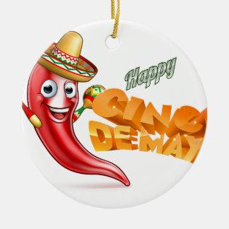 Cinco De Mayo Mexico Chilli Pepper Design Round Ceramic Decoration