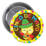 Cinco de Mayo Owl with Guitar Pinback Button