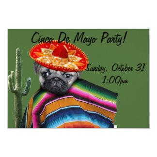 Cinco de Mayo Pug dog party invitation