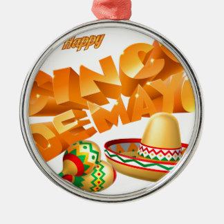 Cinco De Mayo Sign Silver-Colored Round Decoration