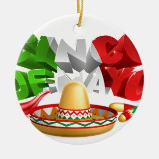 Cinco De Mayo Sign Sombrero Maracas and Pepper Round Ceramic Decoration