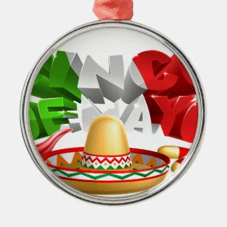 Cinco De Mayo Sign Sombrero Maracas and Pepper Silver-Colored Round Decoration