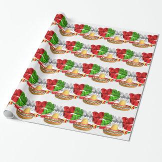 Cinco De Mayo Sign Sombrero Maracas and Pepper Wrapping Paper