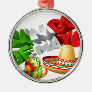 Cinco De Mayo Sign With Sombrero and Maracas Silver-Colored Round Decoration