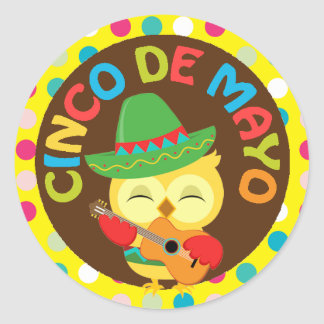 Cinco de Mayo with Cute Owl Classic Round Sticker